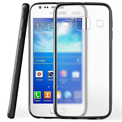 OneFlow Schutzhülle für Samsung Galaxy Ace 3 Hülle Silikon Case aus 1,5mm dünnem TPU   Zubehör Cover zum Handy Schutz   Handyhülle Bumper Tasche Durchsichtig Transparent in Schwarz