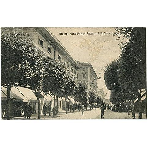 1919 Savona - Corso Principe Amedeo e Asilo Infantile, passanti - FP B/N VG ANIM Cartolina Postale