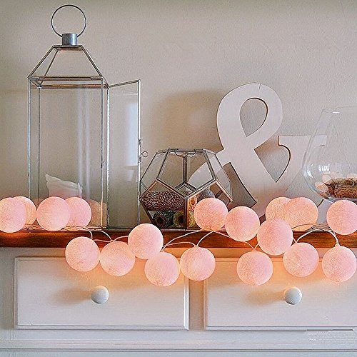 ELINKUME® LED Lichterkette mit 20 Baumwollkugeln, Leuchtfarbe-warmweiß, Batteriebetrieben, 3.3M Lampion Lampe String für die Dekoration, Pink (Chip-des-monats-club)