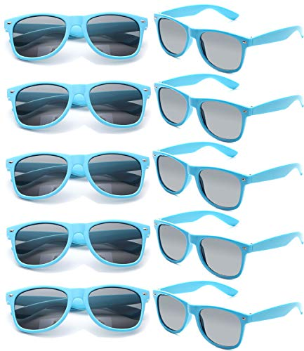 Retro Kostüm Beach Party - FSMILING Nerd Party Sonnenbrille UV400 Retro Design Stil Unisex Brille (10 Stück Blau Brillen)