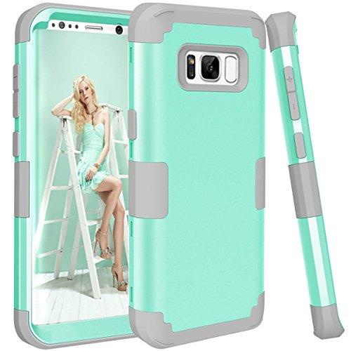 topbin Samsung Galaxy S8Plus Fall, [Ultra Slim] 3in Premium Slim Leicht Kratzfest Fit Hülle Hart PC + Soft Silikon Ganzkörper Schutzhülle für Samsung Galaxy S8Plus, Aqua+Grey Harte Slim Fit-fällen