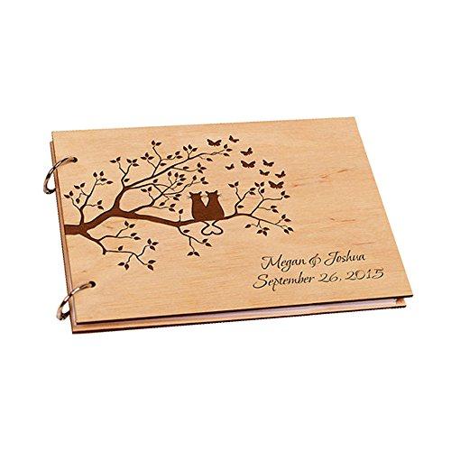 (Purposefull Hochzeit Engagement Gästebuch - Holz-Cover mit Patterned Design - 30 Seiten - Nr. 21)