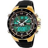 SunJas Reloj Deportivo para Hombres Resistente contra Agua de 50m Pulsera Digital con Luces Banda Desmontable de Multifunciones para Deportes Exteriores (Oro)
