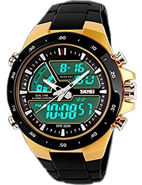 SunJas Digital Armbanduhr LED Sportuhr stoppuhr wecker wasserdicht Quaruhr Alarm in GOLD