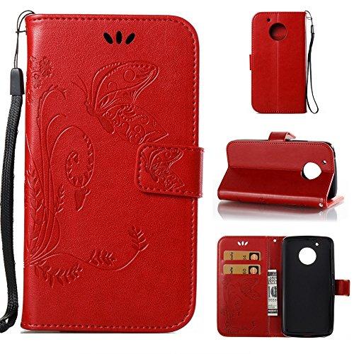 EKINHUI Case Cover Horizontale Folio Flip Stand Muster PU Leder Geldbörse Tasche Tasche mit geprägten Blumen & Lanyard & Card Slots für MOTO G5 ( Color : White ) Red