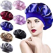 8 Pieces Sleep Caps Women Satin Bonnets Sleeping Hair Loss Cap Salon Night Cap for Women, 8 Colours Elastic Wo