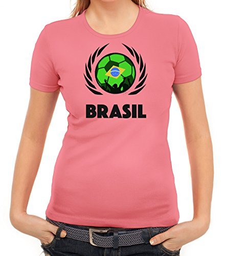 ShirtStreet Brasil Wappen Soccer Fussball WM Fanfest Gruppen Fan Wappen Damen T-Shirt Fußball Brasilien Rosa