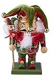 Clever Creations - Cascanueces rechoncho Tradicional de Navidad - Combinable con Cualquier Estilo - 100% Madera - Bufón con Traje Rojo y Verde y Sombrero - con Campanas y...