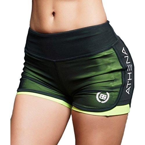 Inlefen Lounge Yoga Running Gym Shorts para Mujer Mesh Women Athletic Workout Shorts Active Sport Waist