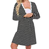 SuperSU Mama Damen Langarm-Taste Pflege Nightie Stripes Mutterschaft Stillen Kleid Still-Nachthemd für Schwangere Nachthemd-Nachtwäsche Zum Stillen Stillnachthemd Ärmellos