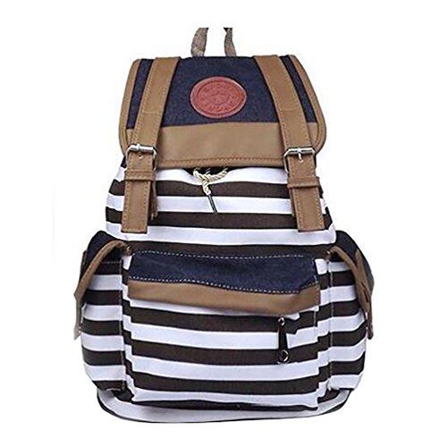 YuanDian Travel Bag Canvas Bag Casual Borsa A Tracolla Strisce Stampa Shoulder Bag Sacchetti Di Scuola Marrone