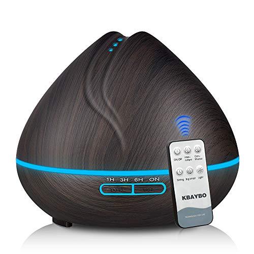 Kbedy 400ml diffusore di oli essenziali, grano di legno ultrasuoni umidificatore ad aria fredda creatore di nebbia con telecomando, 7 colori che cambiano luci a led per home office baby yoga spa