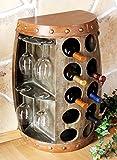 DanDiBo Weinregal Weinfass 1547 Beistelltisch Schrank Fass aus Holz 65cm Weinbar Bar Wandtisch Flaschenregal