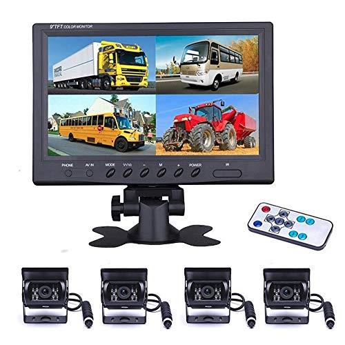 Véhicule Caméra de recul - Camecho 22,9 cm moniteur 4 Split Front View, caméra de recul 18 IR étanche Vision de nuit avec 0,6 x 10,1 m et 0,6 x 19,8 m Câbles pour RV, remorque, Bus, camions