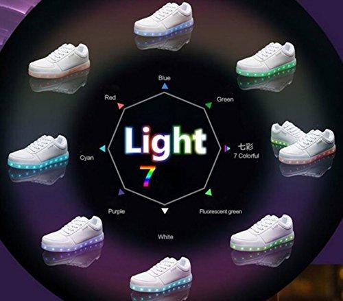 [Present:kleines Handtuch]JUNGLEST 7 Farbe Sneaker USB Aufladen LED Leuchtend Fasching Partyschuhe Sportschuhe Turnschuhe Laufschuhe für Unise Schwarz