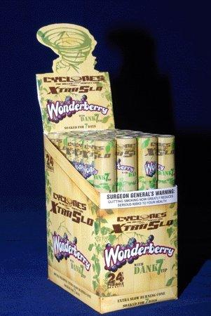 CYCLONES PRE ROLLED CONES XTRA SLO ''WONDERBERRY'' FLAVOURED WITH DANK 7 WOODEN TIP - 1 BOX / 24 CONES