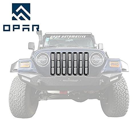 Opar Black Front Grill Inserts Trim for 1997 - 2006 Jeep Wrangler TJ & Unlimited (Pack of 7)