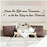 Exklusivpro Wandtattoo Spruch Wand-Worte Nimm dir Zeit zum Träumen, es ist der Weg zu den Sternen. mit SWAROVSKI (zit02 weiß) 180 x 32 cm mit Farb- u. Größenauswahl