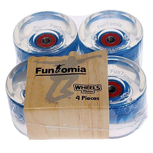 FunTomia 4 Stück (LED) Longboard/Skateboard Rollen (Big Wheels) in 70x51mm 80A inkl. Mach1® Kugellager und Metall Spacer 80A Rollenhärte -