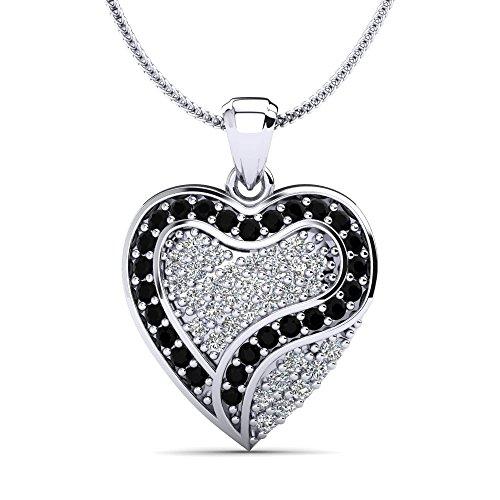 apucine Herzanhänger-Silber 925 ein Herz aus Weißen und Schwarzen Zirkonia Kristallen mit Zusätzlicher Kette und Luxusetui ()