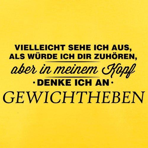 Vielleicht sehe ich aus als würde ich dir zuhören aber in meinem Kopf denke ich an Gewichtheben - Herren T-Shirt - 13 Farben Gelb