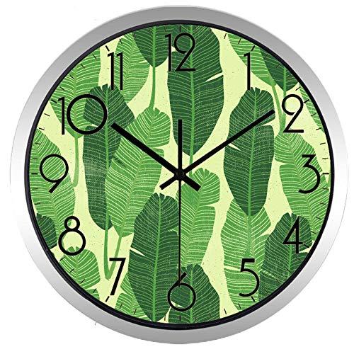 wangchengo Metallwand clockSimple Green Leaf Wall Clock Marke europäischen Stil Silent Metal Frame Glass Gesicht(12inch)