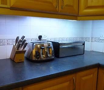 led blanc froid clairage sous armoire de cuisine 2 x 50 bandes bandeau led d 39 emballage id al. Black Bedroom Furniture Sets. Home Design Ideas