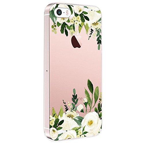 Pacyer Case kompatibel mit iPhone SE Hülle Silikon Ultra dünn Transparent iPhone 5S iPhone 5 Handyhülle Rückschale TPU Schutzhülle für Apple iPhone SE / 5S / 5 Cover Mädchen Elefant Federn(Blumen 1) -