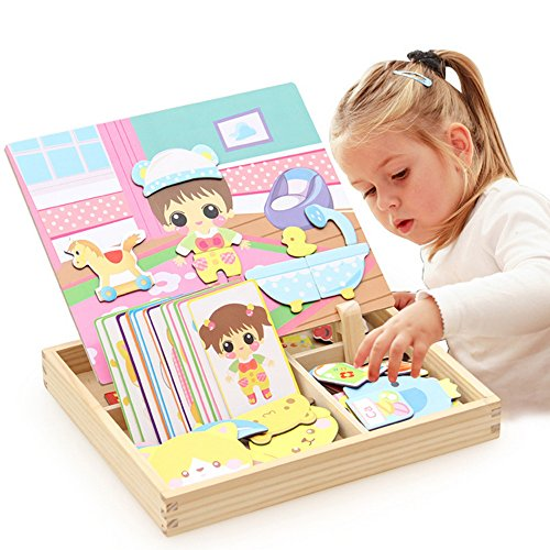 Wooden Drawing Toy, PANNIUZHE Magnetic White Board Games Princess Dress-Up Puzzle with Storage Case Toys for 3 years old
