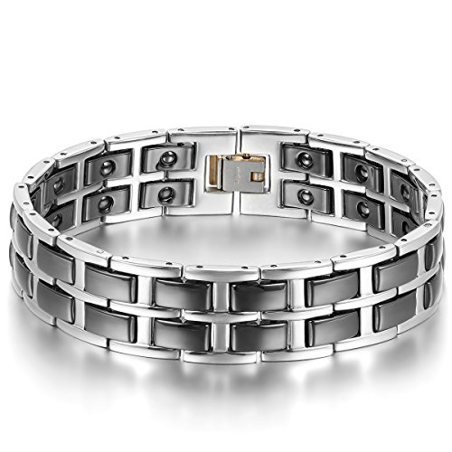 JewelryWe Schmuck Herren Magnet Armband, Edelstahl Keramik, groß schwer breit Doppel I Rechteckig Link Magnetarmband Armreif, Schwarz Silber
