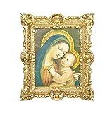 Idea Casa Quadro Madonna Cornice Stile Barocco Vari Colori Stampa Finto Vintage cm 45X37 (Oro)