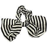 spritech (TM) soie Tissus Pois Big bowknot épingle à cheveux fleur cheveux accessoires de coq pour femme, Noir/blanc, Taille unique