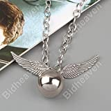 #9: Harry Potter Quidditch Silver Snitch Wing Metal Necklace Locket Pendant