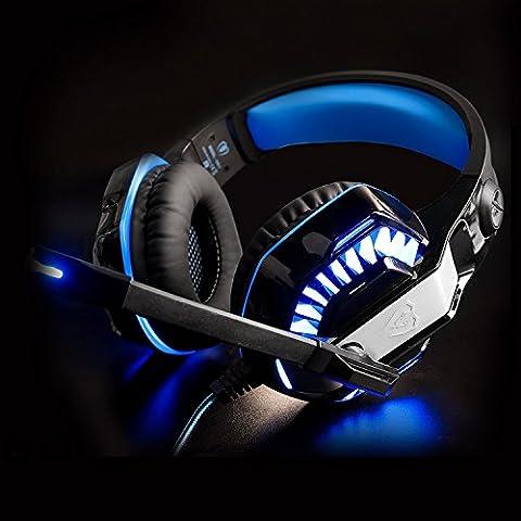 Beexcellent Gaming Headset GM-2 avec microphone pour PS4 / Xbox One / PC / ordinateur portable / cellulaire / PC avec un diviseur Y libre Micro casques PC (Bleu)