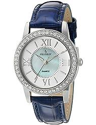 Peugeot Reloj para mujer, con caja plateada decorada con cristales y correa de piel azul