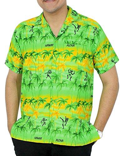 La Leela 4 in 1 caribbean casual/Lounge/Strand Thema Aloha Party/Büro/Urlaub klassischen Regular Fit kurze Ärmel Taste gedrückt Lager Vortasche für Männer hawaiische Hemd rot Grün