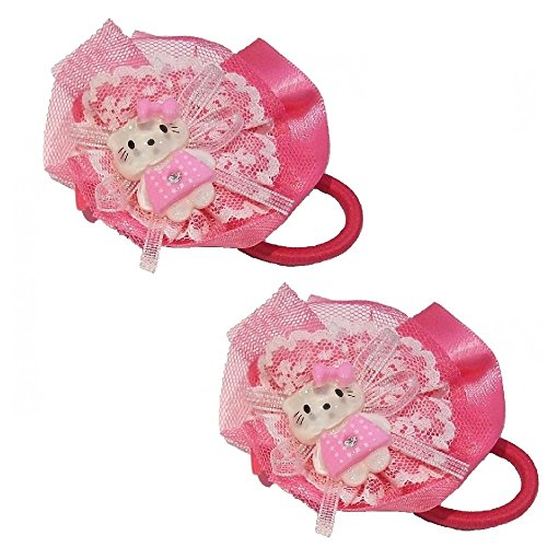 2rosa weiß Mädchen Kinder Katze Schleife Haarspangen Pony Haar Zubehör Hello Kitty Stil Haargummis elastisch
