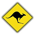 Kangaroo Warning Sign Car Decor Vinyl Sticker 12 X 12 cm