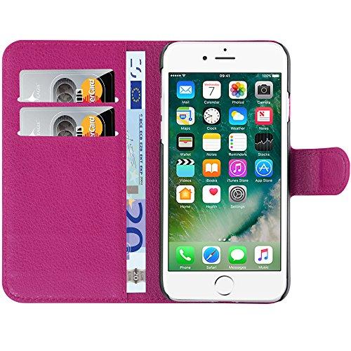 HANDYPELLE® PREMIUM Tasche für Apple iPhone 7 und 8 (4,7 Zoll / 11,9 cm) Bookstyle in Grün Pink