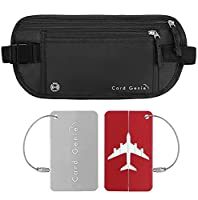 Money Belt for Travelling - Hidden RFID blocking pouch for passport and cards - Discreet Black Water resistant Anti theft material with zip for ladies, men - 2 BONUS luggage tags by Card Genie