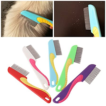 Autone Edelstahl-Katzenkamm, dichte Zähne, Massage, Haarbürste, 1 Stück, zufällige Farbe