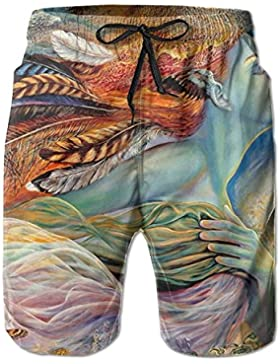 Fairy Art Men's/Boys Casual Swim Trunks Short Elastic Waist Beach Pants with Pockets