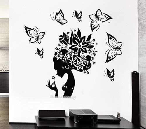Tianpengyuanshuai Adesivo da Parete Design Moderno Bella Farfalla Salone di Bellezza Donna Astratto Post Ragazza Camera Art Deco Hall Poster da Parete 46 x 42 cm