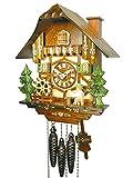 Original Schwarzwälder Kuckucksuhr/Schwarzwald-Uhr (zertifiziert), Schwarzwald-Haus, 1-Tag-Werk, mechanisch, Musik, beweglicher Bier-Trinker, Mühl-Rad, Kamin-Feger, Kukuks-Uhr, Kuckuks-Uhr