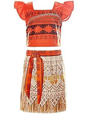 ReliBeauty Mädchen Kleid Prinzessin Vaiana Moana Kostüm Falten Puffärmel Quadratischer Kragen Digitaldruck Muster...