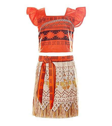 ReliBeauty Mädchen Kleid Prinzessin Vaiana Moana Kostüm Falten Puffärmel Quadratischer Kragen Digitaldruck Muster Crop Top Seitenschlitz Rock, Wie gezeigt, (Muster Kostüme Disney)