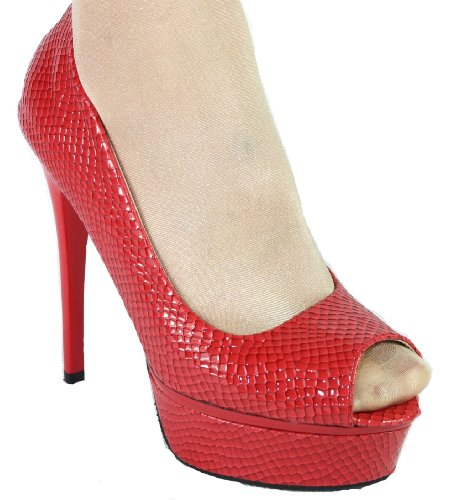 Damen High Heel Peeptoe Plateau Pumps 10311 Rot