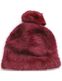 FERETI Gorro De Punto Mujer Rojo Burdeos Lana Conejo 50 Angora Largo Pompon  Bola Pelo Gorros f6d3797cb90