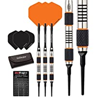 Red Dragon Amberjack Soft Tip Dartpfeile 18g – 90% Tungsten Darts Set (Steel Dartpfeile) mit Flights, Schäfte, Brieftasche Checkout Card