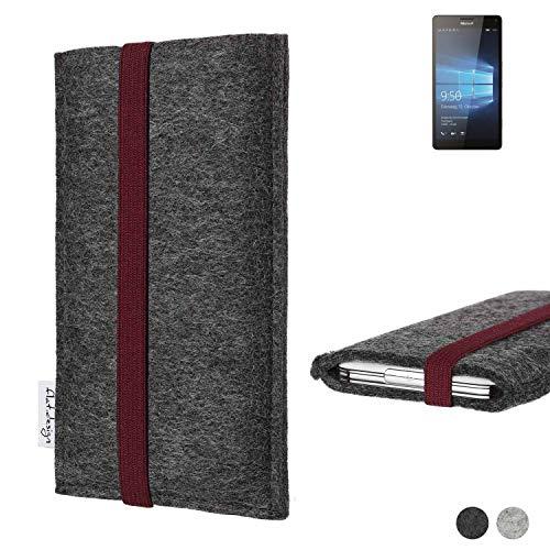 flat.design Handy Tasche Coimbra für Microsoft Lumia 950 XL Dual SIM - Schutz Case Tasche Filz Made in Germany anthrazit Bordeaux